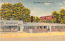 c.1940? Dick's Diner & Delicatessen Dover NJ post card Linen Roadside