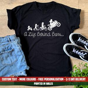 Ladies Life Biker Girl T Shirt Funny Behind Motorbike Bars Chick Birthday Gift