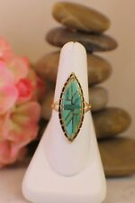 DV Eriacho Solid 14K Yellow Gold & Turquoise Ring size 8 Limited Ed RARE Navajo