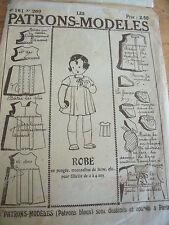 ANCIEN PATRON ECHO DE LA MODE ROBE A LACET PUR ANNEE 1940 TAILLE 2 A 4 ANS