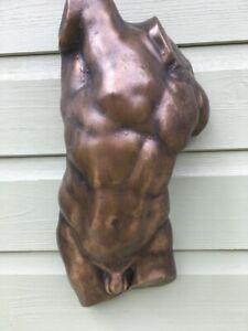 Male Torso Classic Nude Unique Polished Bronze Metallic Finish  Gay Interest
