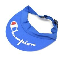 77f0705943204 Vintage Champion Logo Visor Hat Crescent Brim Sun Strapback Shade Blue Red  White