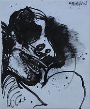 CHRISTOFOROU John - Dessin encre de chine original drawing portrait 1978 *