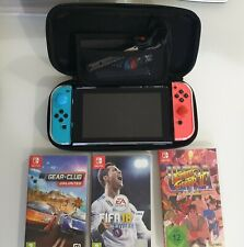 Nintendo Switch Console - Black with Neon Blue and Red Joy-Controller + Extras!