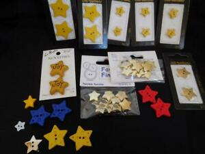 """lot of 41 Novelty plastic STAR BUTTONS 3/8""""-1"""" Diameter metallic red yellow blue"""