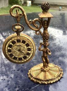 Antique Brass or Bronze Pocket Watch Holder, Stand Figural Woman Sphere Unique