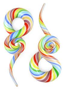 Pair Rainbow Twist Curls and Loops Glass Hangers Gauges
