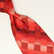 Neiman Marcus Silk Necktie Multi Red Pink Quilted Check Gradient Made in Italy