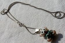Vintage Sterling Silver Painted Puffy Teddy Bear Pendant with 925 Italy Necklace