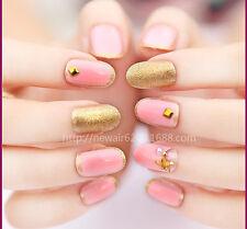 Beauty 20pcs Gold and Pink Short False Nails Full Cover Oval Tips DIY Nail Art