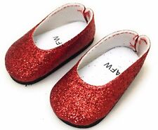 "Red Glitter Flat Shoes for 14.5"" American Girl Wellie Wishers Dolls"