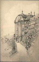Dornburg an der Saale s/w AK ~1920/30 Rokoko Schloß nach einer Zeichnung Hartwig