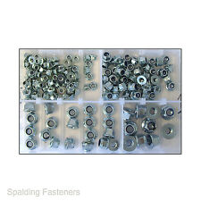 Assorted M5, M6, M8 & M10 Metric Zinc Plated Hexagon Flange Nyloc Nuts