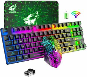 Wireless Gaming Keyboard and Mouse Rainbow LED 87 Key for PC MAC Laptop PS4 Xbox