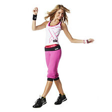 NEW ZUMBA Groove For the Cure Logo Stamp Capri & Tank Top Pink Med Knee pants 2p