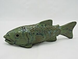 Art Pottery Fish Rattle Sculpture Green Handcrafted Signed Hutton(?)