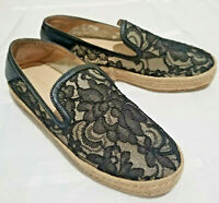 Stuart Weitzman Shoes 7.5 M Black Lace Espadrilles Loafers Slip Ons Womens EUC