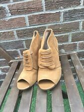 Camel French Connection  Open Toe Ankle Boots Shoes Uk8 Woman.