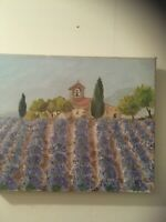 Lavender field Original  Painting Oil on Canvas, Cannes 1992 by Colette
