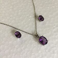 SET Solid Silver, Oval Amethyst, Matching Necklace & Stud Earrings BOXD Plum UK.