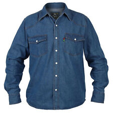 Duke London Mens Long Sleeve Western Denim Shirt Top L Blue