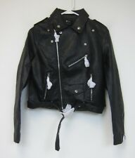 Boohoo Flamant Rose Savannah Crop Leather Look Biker Jacket - Medium - Black NWT