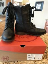 SO AUTHENTIC AMERICAN HERITAGE Woman Size 7.5 Combat Boots Lace Zip Boots Black