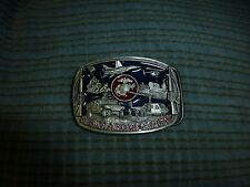 1991 US Marine Corps Bergamot Belt Buckle Pewter Blue/Red Enamel USA VG !