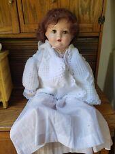 "Antique Century Doll Restored Sleep Eyes Wig Composition Cloth 19"" Crier Works"