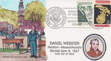 COLLINS HAND-PAINTED FDC FIRST DAY COVER 1989 DANIEL WEBSTER - FAMOUS PEOPLE