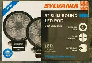 "SYLVANIA Slim 3"" Round LED Light Pod Spot Light 950 Lumens 2 Pods"