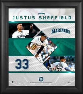 """Justus Sheffield Seattle Mariners Framed 15"""" x 17"""" Stitched Stars Collage"""