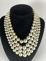 Vintage 4 Strand Faux Pearl Graduated Hook Clasp Collar Necklace