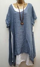 New Blue Italian Lagenlook 3 pc tunic dress top & necklace 12 14 16 18 20 uk