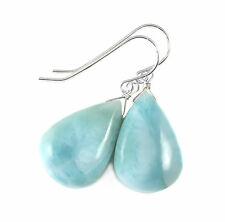 Sterling Silver Larimar Earrings Smooth Briolette Large Puffed Drops Baby Blue