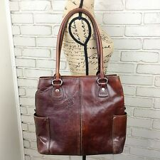 ~~ FOSSIL ~ Large Brown Distressed Leather Laptop Case Briefcase Tote 75082 ~~