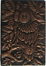 OWL Embossed Leather Journal  Engraved Leather Journal , size A5, 8.5 X 5.7 an a
