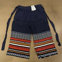 Desigual Women's Size XL Navy Blue Colorful Striped Doll Trouser Pants NWT