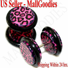 1249 Fake Cheater Illusion Faux Plugs Pink Leopard Cheetah Print Spots 00G 10mm