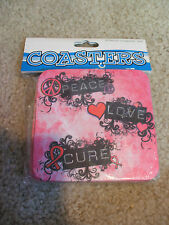 PEACE LOVE CURE Breast Cancer Awareness Set of 4 Coasters NIP Pink Blk Donation