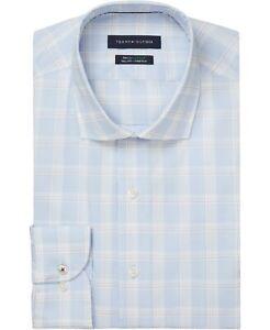Tommy Hilfiger Mens Dress Shirt Blue Size 18 1/2 Plaid Long Sleeve $85 159