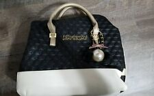Betsey Johnson Black Quilted Hearts  Satchel Shoulder Handbag