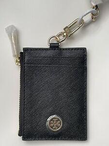 NWT Tory Burch Robinson Lanyard Card Case Black/Gold Leather