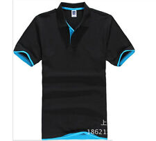 Hot Men's New Fashion Short Sleeve Polo Collar Work T-shirt Cotton Shirt Tops GW