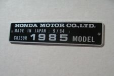 Honda CR250R models 78 79 80 82 85 87 88   HEADTUBE TAG / FRAME ALU DATA PLATE