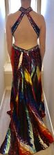 TONY BOWLS PARIS BACKLESS HALTER RED COLORFUL PAGEANT DRESS BLINGY PROM SZ 6-8