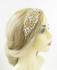 Silver Gold Ivory Pearl Bridal Headpiece Beaded Vintage Crystal Headband 20s 930