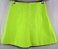 j crew clubwear womens neon yellow mini skirt size 0 geometric print new