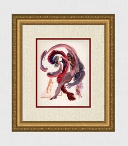 """Popular 1960 SALVADOR DALI Divine Comedy Woodcut """"Spiritual Sloth"""" Framed COA"""