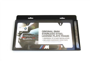 BMW LICENSE PLATE FRAME BLACK STAINLESS FINISH WITH M LOGO NEW GENUINE OEM